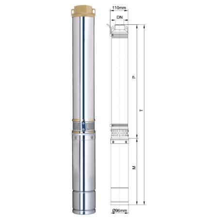 Погружной центробежный многоступенчатый насос для воды Aquatica DONGYIN 4SD8/34